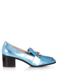 Gucci Polly Fringed Leather Loafers Light Blue