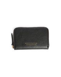 Scotch And Soda Black Leather Zipped Cardholder And Wallet