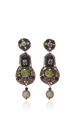 Ranjana Khan Onyx Gunmetal Earrings Metallic