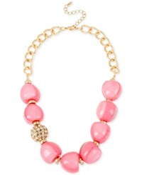 Macy's M. Haskell Gold Tone Pink Round Bead And Crystal Fireball Frontal Necklace