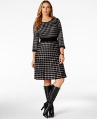 Spense Plus Size Geo Patterned Sweater Dress Black Multi
