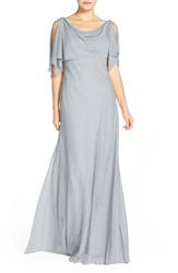 Women's Jenny Yoo 'Devon' Glitter Knit Gown With Detachable Capelet Dusty Blue