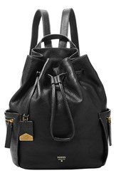 Fossil 'Vickery Large' Drawstring Leather Backpack Black
