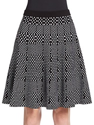 Saks Fifth Avenue Black Diamond Jacquard Swing Skirt