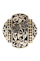 Phillip Gavriel 18K Yellow Gold And Oxidized Sterling Silver Dragonfly Rectangular Top Graduated Fancy Ring Metallic