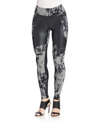 Kensie Print And Pleather Leggings Heather Ash
