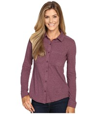 Columbia Saturday Trail Knit Long Sleeve Shirt Purple Dahlia Heather Women's Long Sleeve Button Up