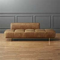 Cb2 Lawndale Brown Leather Daybed With Brass Base