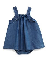 Chloe Sleeveless Chambray Play Dress Blue