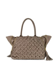 Forzieri Taupe Pleated Leather Tote