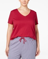 Nautica Plus Size V Neck Pajama T Shirt Beet Red