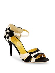 Charlotte Olympia Etta Suede And Leather Colorblock Sandals Oxford
