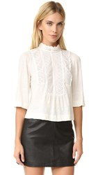La Vie Rebecca Taylor Long Sleeve Linen And Lace Tee Chalk