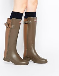 Hunter Original Refined Back Strap Green Wellington Boots Swampgreen