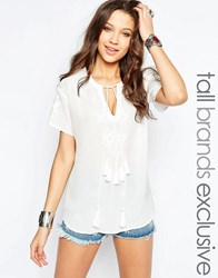 Glamorous Tall Embroidered Peasant Blouse Cream