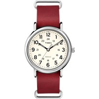 Timex Weekender 40 Slip Thru Watch Cream And Red Leather