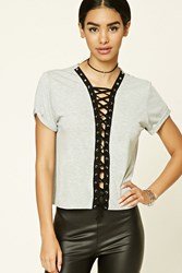 Forever 21 Heathered Lace Front Tee Heather Grey