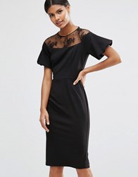 Asos Pencil Dress With Lace Yoke And Puff Sleeve Black