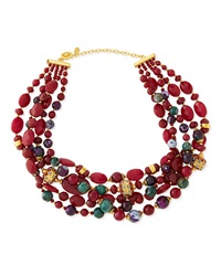 Jose And Maria Barrera Chunky Multi Stone Necklace Deep Red