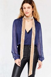 Urban Outfitters Crushed Velvet Skinny Scarf Cream