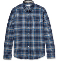 Button Down Collar Checked Brushed Cotton Twill Shirt Blue