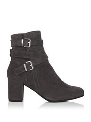 Kanna Tere Suede Double Buckle Ankle Boots Grey