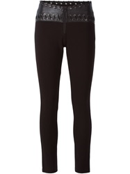 Pierre Balmain Leather Panel Leggings Black