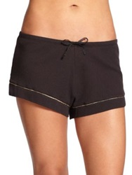 Skin Piped Waffle Knit Cotton Shorts White Black