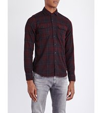 Replay Check Print Slim Fit Cotton Shirt Red