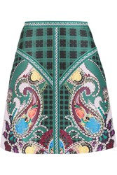 Mary Katrantzou Printed Satin Twill Skirt Green