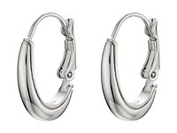 Cole Haan Small Polished Metal Oval Hoop Earrings Light Rhodium Earring Silver