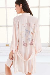 Out From Under Kitschy Embroidered Robe Peach