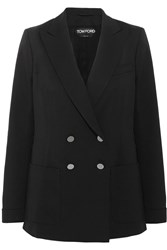 Tom Ford Double Breasted Stretch Wool Gabardine Blazer Black
