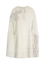 By Walid Patchwork Collarless Crochet Cotton Cape White