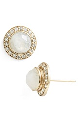 Melinda Maria 'Jade' Mini Pave Stud Earrings Moonstone Gold