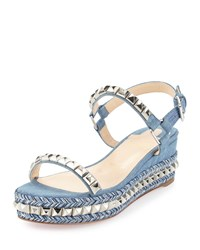 Christian Louboutin Cataclou Denim 60Mm Wedge Red Sole Sandal Blue Silver Women's Size 41.5B 11.5B