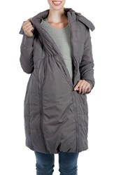 Modern Eternity Women's Madison Quilted Maternity Puffer Coat With Faux Fur Trim Grey