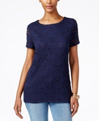 Charter Club Short Sleeve Crochet Top Only At Macy's Intrepid Blue