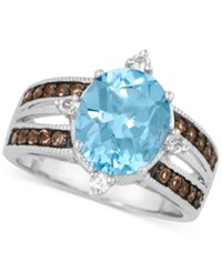 Le Vian Blue Topaz 3 9 10 Ct.T.W. Smoky Quartz 1 4 Ct.T.W. And White Topaz 1 6 Ct.T.W. Ring In 14K White Gold