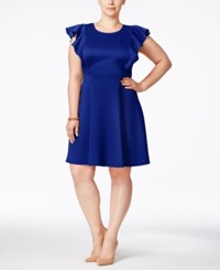 Soprano Plus Size Ruffle Sleeve Scuba Dress Blue