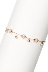 18K Rose Gold Plated Sterling Silver Pave Cz Bead Bracelet Metallic