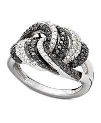 Wrapped In Love Diamond Ring Sterling Silver Black And White Diamond Knot Ring 3 4 Ct. T.W.