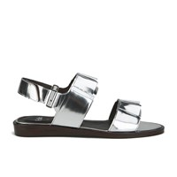 Folk Women's Lore Ruffle Detail Two Part Leather Sandals Silver