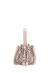 Azzedine Alaia 'Vienne' Small Perforated Leather Bucket Bag Neutral