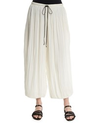 Adam By Adam Lippes Drawstring Waist Wide Leg Ankle Pants Ivory