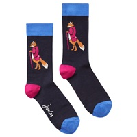 Joules Brill Bamboo Fox Print Ankle Socks Pack Of 1 Navy Hot Pink