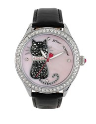 Betsey Johnson Pave Cat Black Patent Leather Strap Watch