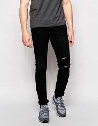 Pull And Bear Jeans In Slim Fit With Rips In Black Black