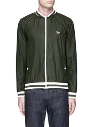 Maison Kitsune Fox Logo Applique Blouson Jacket Green