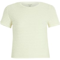 River Island Womens Cream Fitted Ruffle Short Sleeve T Shirt